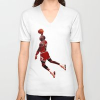 lakers V-neck T-shirts featuring MJ  by VeilSide07