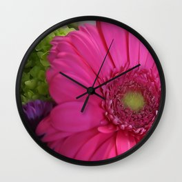 Pink Daisy Floral Bouquet Wall Clock