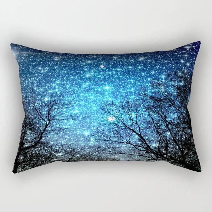 Black Trees Blue SPACE Rectangular Pillow