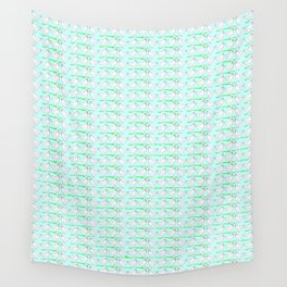 White hen on blue sky Wall Tapestry