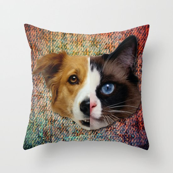 CatDog Throw Pillow
