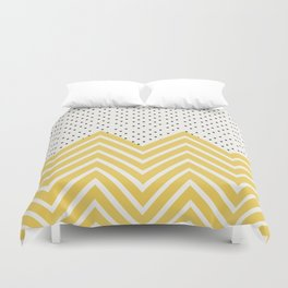 Chartreuse Chevron and dots  Duvet Cover