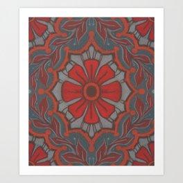 Folk Flower, Vintage Floral Pattern, Scarlet Grey Art Print
