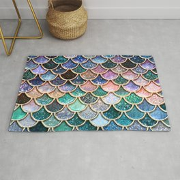 Multicolor Pink And Aqua Mermaid Scales - Beautiful Abstract Glitter Pattern  Rug