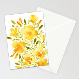 Watercolor California poppies (Quad set, #1) Stationery Cards