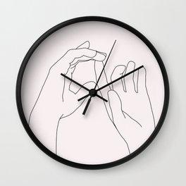 Hands line drawing illustration - Darcy Natural Wall Clock