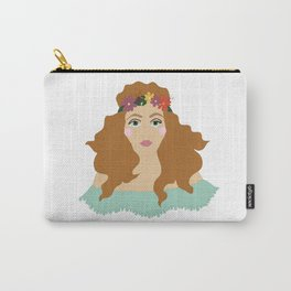 Digital illustration 70s retro vintage girl hippie flowers twiggy funky flower power Carry-All Pouch
