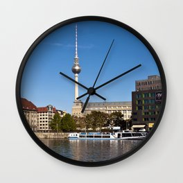 Autumnal Feeling at the River Spree in Berlin Wall Clock