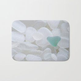 Japanese Teal Sea Glass Heart Bath Mat