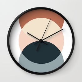 Sun and Moon, Geometric Art, Terracotta, Blue Wall Clock