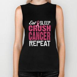 Eat Sleep Crush Cancer Repeat Biker Tank