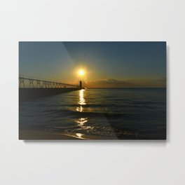 Manistee at Sundown Metal Print