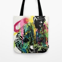 biggie smalls Tote Bags featuring Biggie Smalls Spray Paint Illustration by ConorMcClure