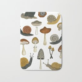 mushrooms and snails Bath Mat
