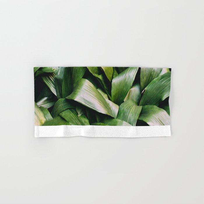 Green Leaves Closeup Pattern Hand & Bath Towel