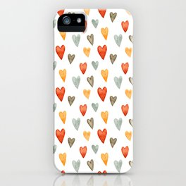 Illustrated Sketch Hearts // Orange // Yellow // Gray iPhone Case