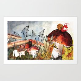 Snail on a Mushroom Poster Art Print