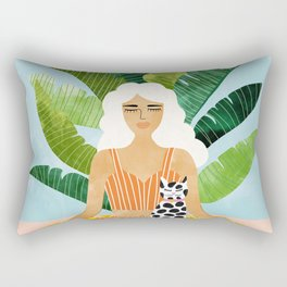 Meditation With Thy Cat #illustration #painting Rectangular Pillow