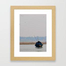 India - boat on the Ganges river Framed Art Print