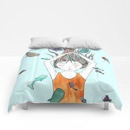 Curious whales Comforters