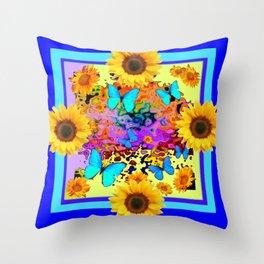 Blue Design Sunflower Butterflies Dream Throw Pillow