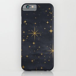 Gold Stars Black Ink Night Sky Magical Mid Century Pattern iPhone Case