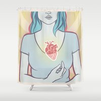 anatomical heart Shower Curtains featuring Heart by Melissa Lee Shaw