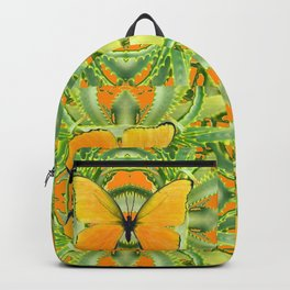 GOLDEN BUTTERIES ON GREEN ALOE CACTUS DESIGNS Backpack