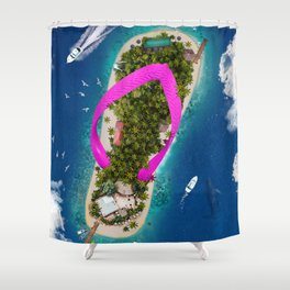 Flip Flop Island Pink Shower Curtain