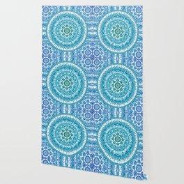 Aquamarine Mandala Pattern Wallpaper