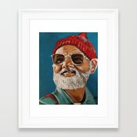 steve zissou Framed Art Prints featuring Steve Zissou  by Kristin Frenzel