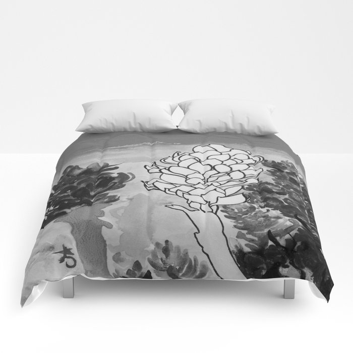 Alpinia purpurata – Red Ginger Flower - Black and White Greyscale Comforters