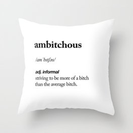 Ambitchous black and white contemporary minimalism typography design home wall decor bedroom Throw Pillow