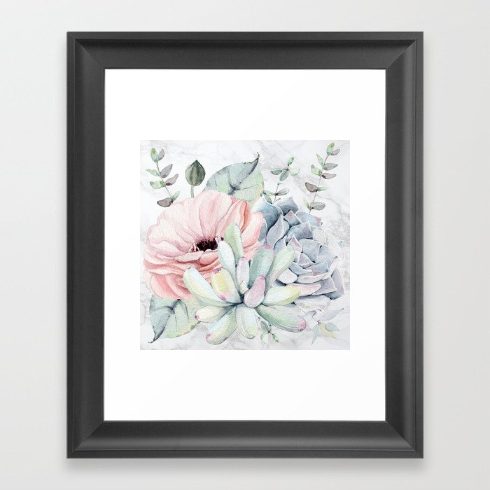 Pretty Succulents on Marble by Nature Magick Framed Art Print