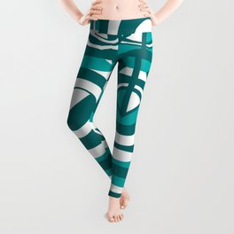 Striped Blue White and Teal Falling Eccentric Circles Abstract Art Leggings