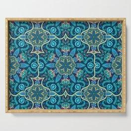 Colorful vintage mandala seamless pattern Serving Tray