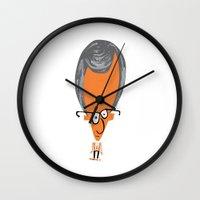 woody allen Wall Clocks featuring Woody by Marcelo Badari