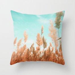 Orange Wheat Spikes Throw Pillow