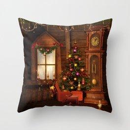 Old Christmas Room Throw Pillow