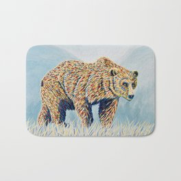 Colorful Bear in the Grass Bath Mat