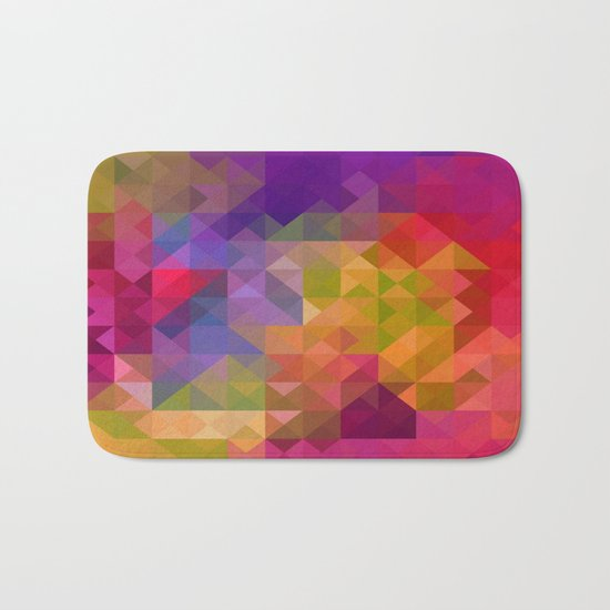 Bright Colorful Geometric Abstract Bath Mat