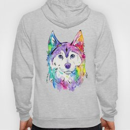 Happy - Siberian Husky Watercolor Art Hoody