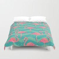 flamingo Duvet Covers featuring Flamingo by Julia