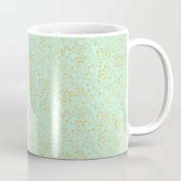Mint and Burnt Orange Floral Outlines Coffee Mug