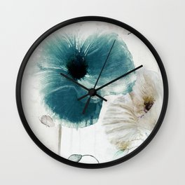 Teal Poppies Wall Clock