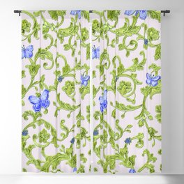 Butterfly Leaf Baroque Floral Blackout Curtain