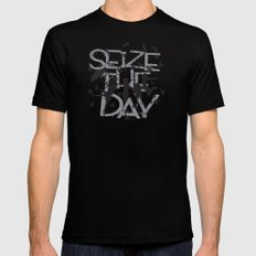 Seize the day Mens Fitted Tee Black LARGE