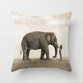 One Amazing Elephant - sepia option Throw Pillow