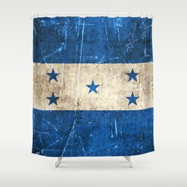 Vintage Aged and Scratched Honduras Flag Shower Curtain