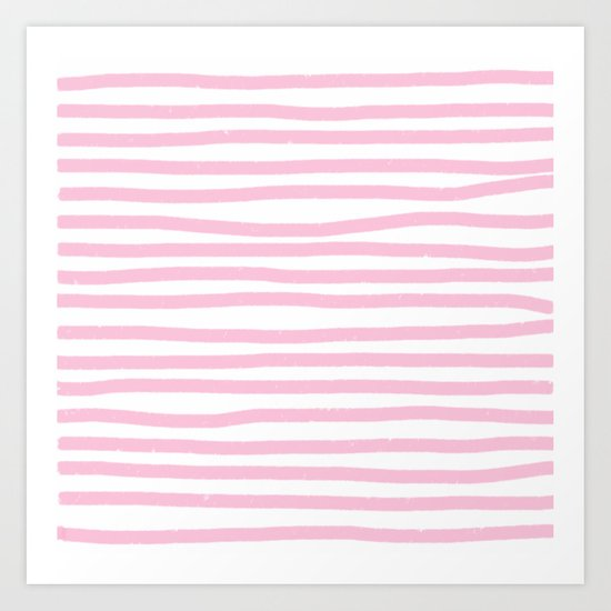 Pink Stripes Horizontal Art Print